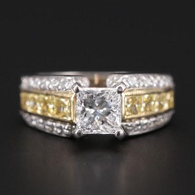 Platinum and 18K Yellow Gold 1.90 CTW Diamond Ring