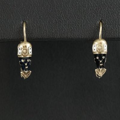 14K Yellow Gold Enamel Figural Drop Earrings