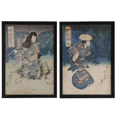 Gigadô Ashiyuki Ukiyo-e Woodblocks of Kabuki Actors, circa 1829