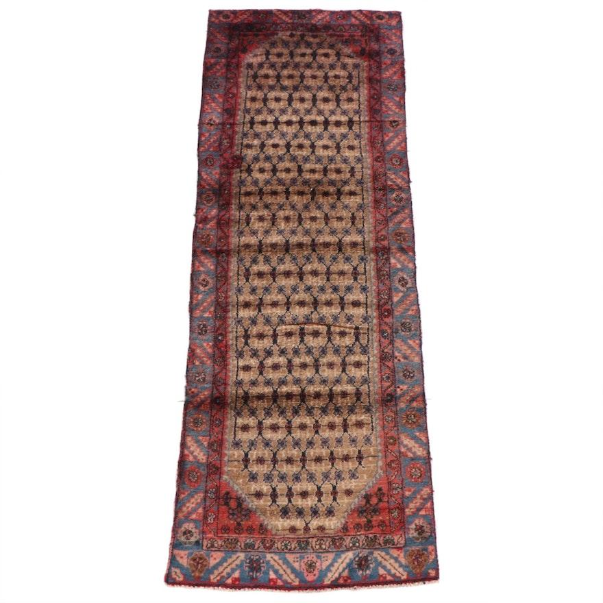 3'2 x 9'4 Hand-Knotted Persian Veramin Wool Long Rug