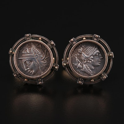 14K Gold and Sterling Cufflinks with Reproduction Ancient Greek and Roman Coins