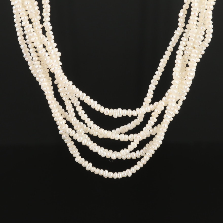 Sterling Silver Seed and Cultured Pearl Multi Strand Necklace