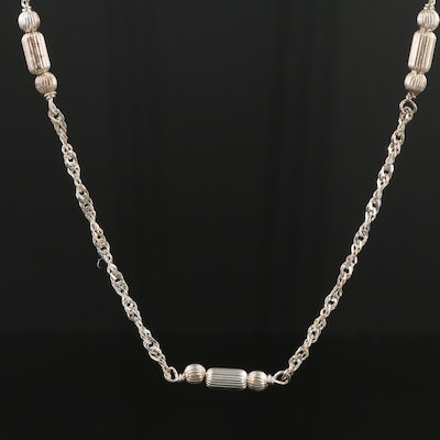 Sterling Silver Bead and Chain Necklace