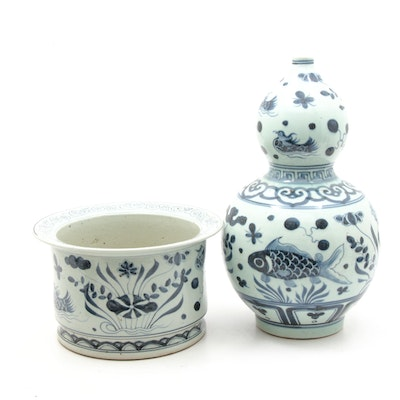 Chinese Koi and Fowl Gourd Vase with Matching Planter Pot