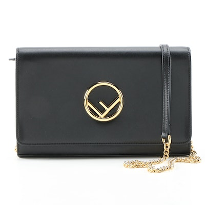 "Fendi Black Leather Wallet on Chain with Tilted ""F"" Logo"