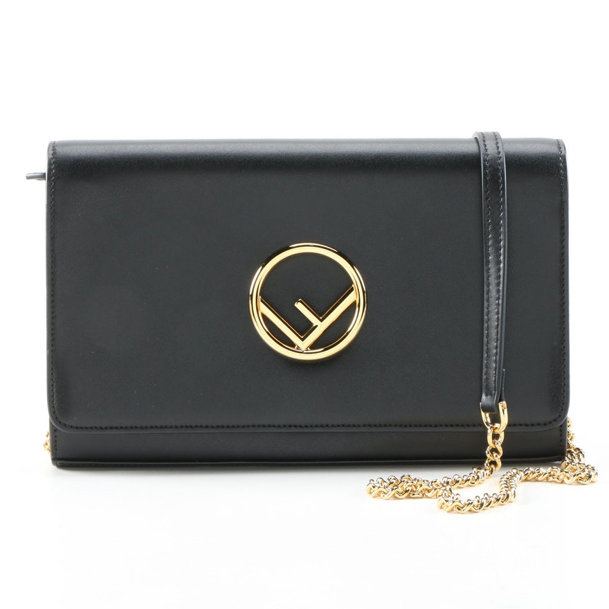 """Fendi Black Leather Wallet on Chain with Tilted """"F"""" Logo"""