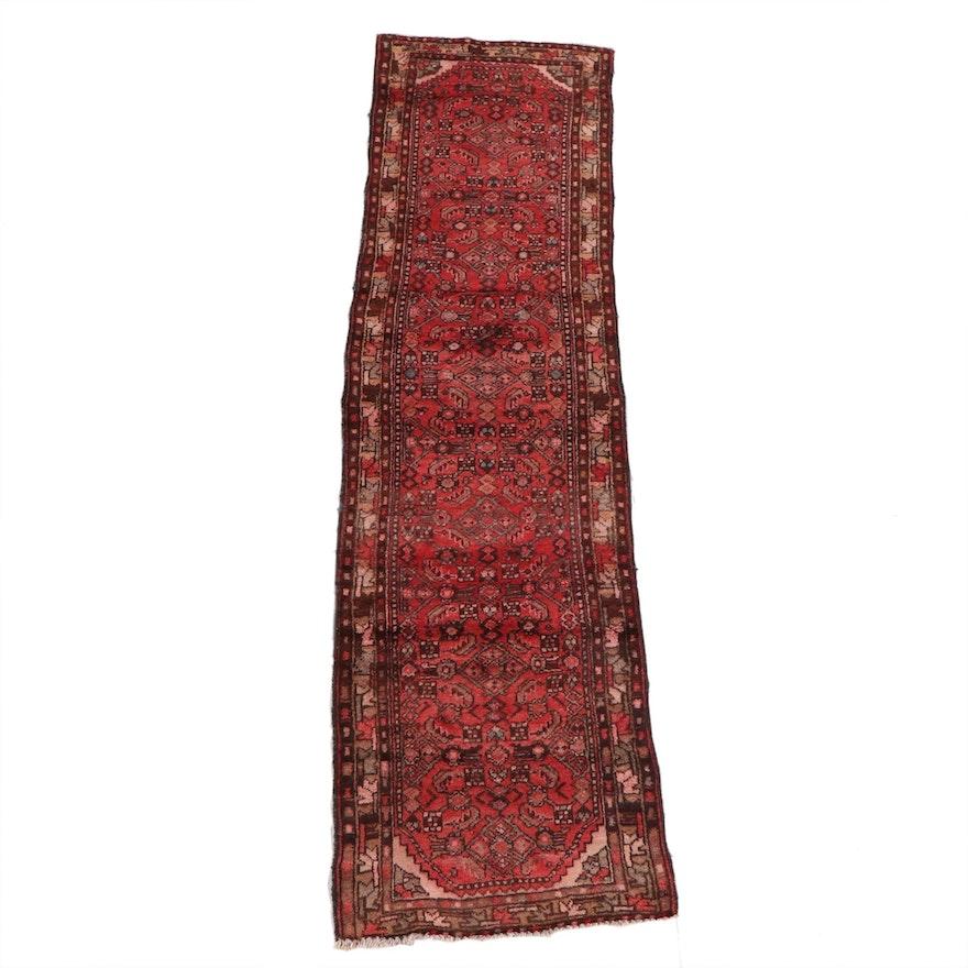 2'7 x 9'3 Hand-Knotted Persian Hamadan Wool Carpet Runner