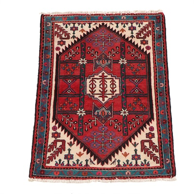 3'6 x 5'0 Hand-Knotted Persian Zenjan Wool Rug