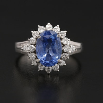 Platinum Untreated 3.04 CT Sri Lankan Sapphire and Diamond Ring with GIA Report