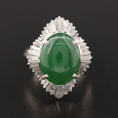 Vintage Platinum Jadeite and 1.45 CTW Diamond Ring