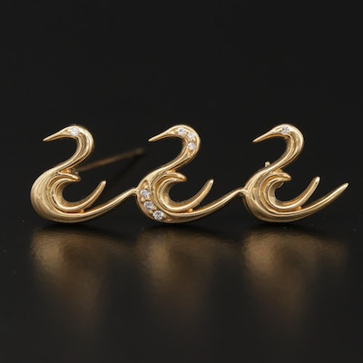 18K Yellow Gold Diamond Bird Brooch