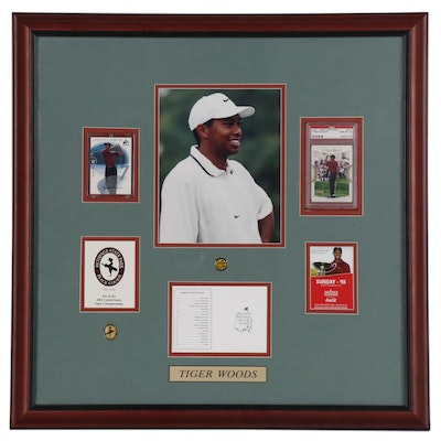 Tiger Woods Display, Features Certified Signed Card and Graded 2001 Card, Framed