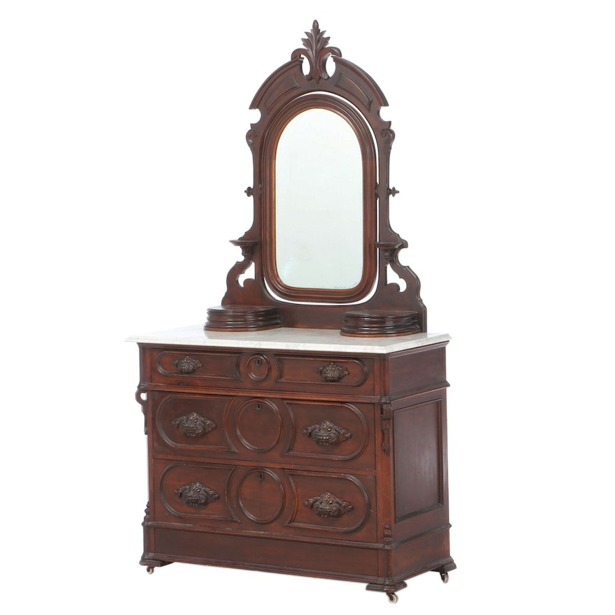 Victorian Walnut and White Marble Four-Drawer Dresser, Late 19th Century