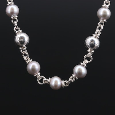 Michael Dawkins Sterling Silver Cultured Pearl Strand Necklace