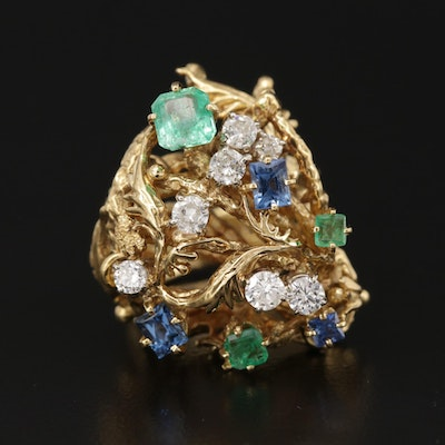 Vintage 18K Yellow Gold Emerald, Sapphire and Diamond Biomorphic Ring