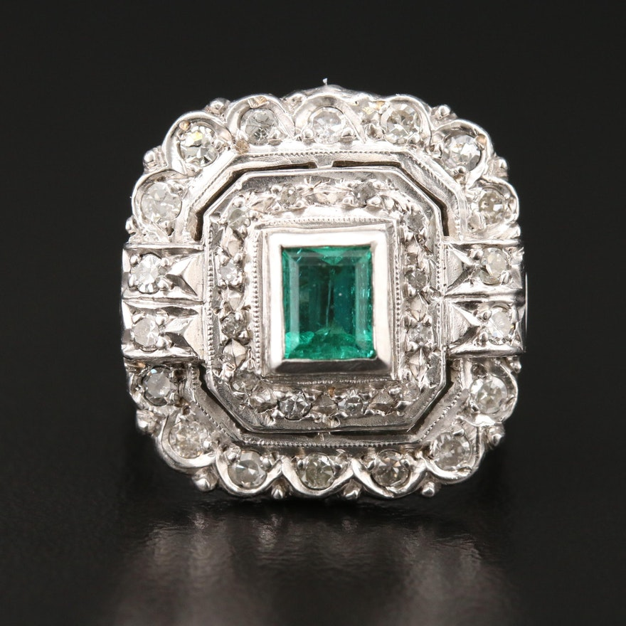 Vintage 10K White Gold and 900 Silver Emerald and Diamond Ring
