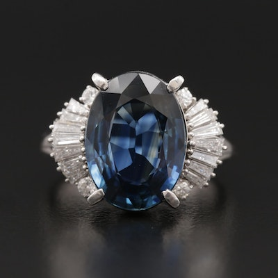 Platinum Diamond and 5.10 CT Blue Sapphire Ring with GIA Report