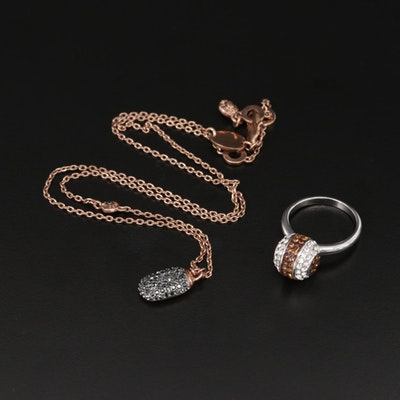Henri Bendel Glass and Rhinestone Ring and Pavé Pendant Necklace