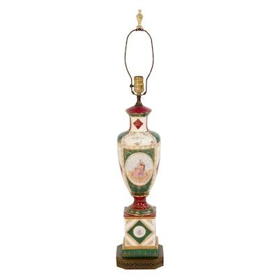 Hand-Decorated Gilt Porcelain Lamp, Vintage