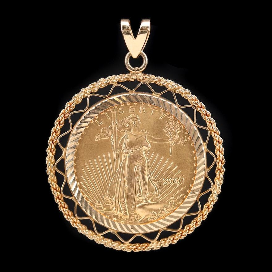 14K Pendant with 2001 American Eagle Gold Bullion Coin
