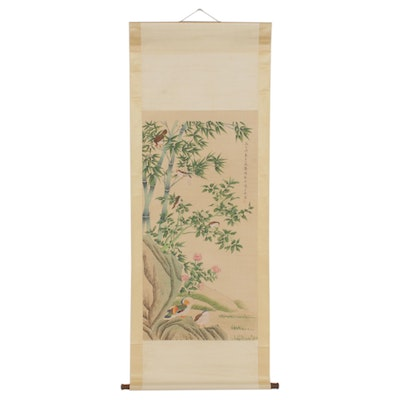 Chinese Gouache and Watercolor Painting of Birds and Flowers on Hanging Scroll
