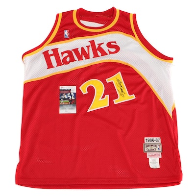 Dominique Wilkins Signed Atlanta Hawks Retro Replica Jersey   COA