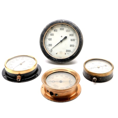Steam Pressure Gauges Including Crosby, Boston, Patent 1906, Early-Mid-20th Ca.