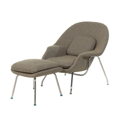 Saarinen Cashmere Wool Womb Chair and Ottoman