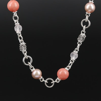 Michael Dawkins Sterling Silver Coral, Rose Quartz and Cultured Pearl Necklace