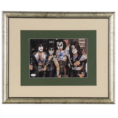 KISS Band Members Signed Photo Print, Framed   JSA Full Letter
