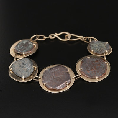 14K Yellow Gold Bracelet with Circa 1500 Spanish Colonial Bronze