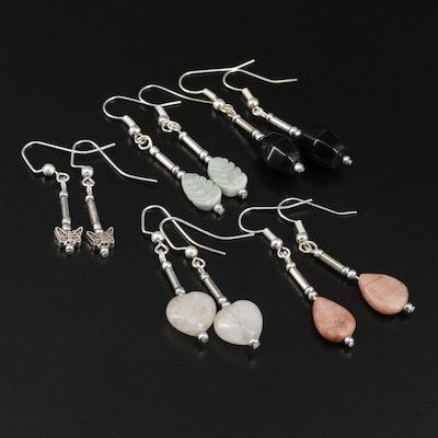 Black Onyx, Jasper and Quartz Drop Earrings