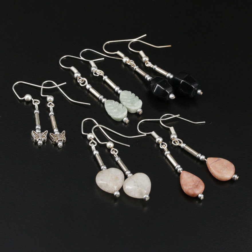 Black Onyx, Jasper and Quartz Drop Earrings