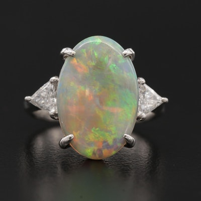 Platinum 3.36 CT Opal and Diamond Ring