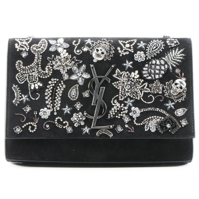 Yves Saint Laurent Kate Skull Embellished Black Suede Crossbody Clutch