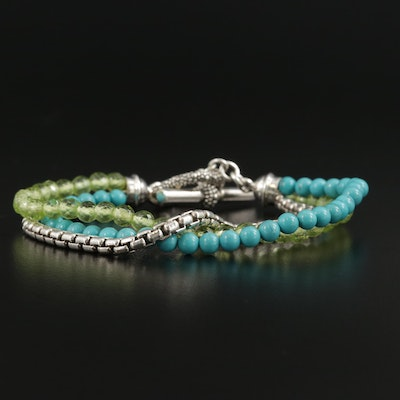 Michael Dawkins Sterling Silver Peridot and Turquoise Bracelet