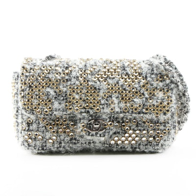 Chanel Medium Classic Flap Bag in Crystal Embellished Tweed Bouclé Fabric