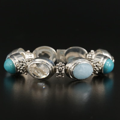 Michael Dawkins Sterling Aquamarine, Quartz and Turquoise Bracelet