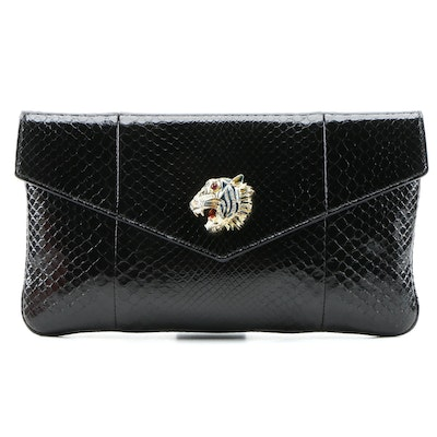 Gucci Black Python Rajah Envelope Clutch