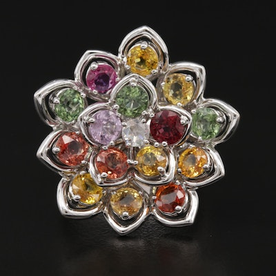 18K White Gold Diamond and Multi-Colored Sapphire Lotus Motif Ring