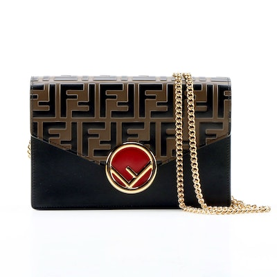 Fendi Two-Tone FF Embossed and Black Leather Crossbody Wallet on a Chain