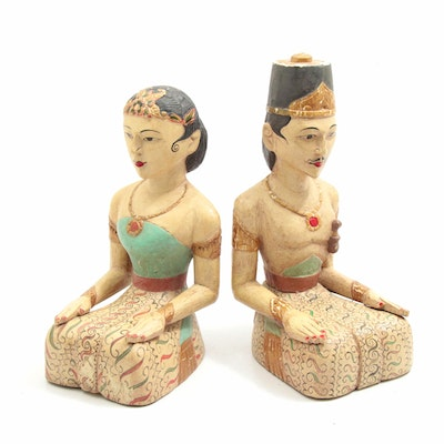 Southeast Asian Style Hand-Carved Wood Figures, 20th Century