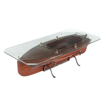 Maitland-Smith Mahogany Sailboat Model Coffee Table, Late 20th / 21st Century