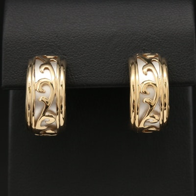 14K Yellow Gold and Sterling Silver Scroll Motif Earrings