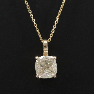14K Yellow Gold 1.00 CT Diamond Solitaire Necklace