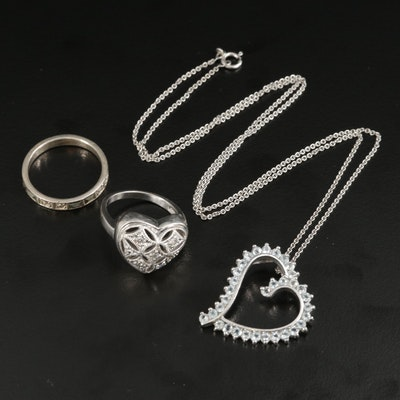 Assorted Silver Diamond and Topaz Necklace and Rings Including Heart Motif