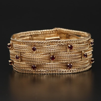 Vintage 14K Yellow Gold Basket Weave Mesh Bracelet with Red Glass Accents
