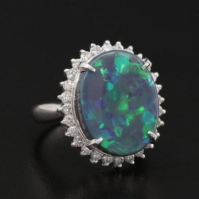 Platinum Black Opal Ring with Diamond Halo