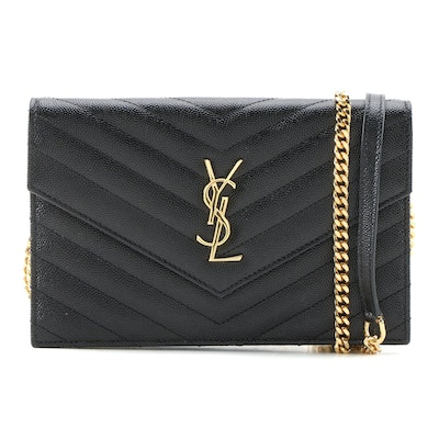 YSL Saint Laurent Paris Grain de Poudre Envelope Wallet on Chain