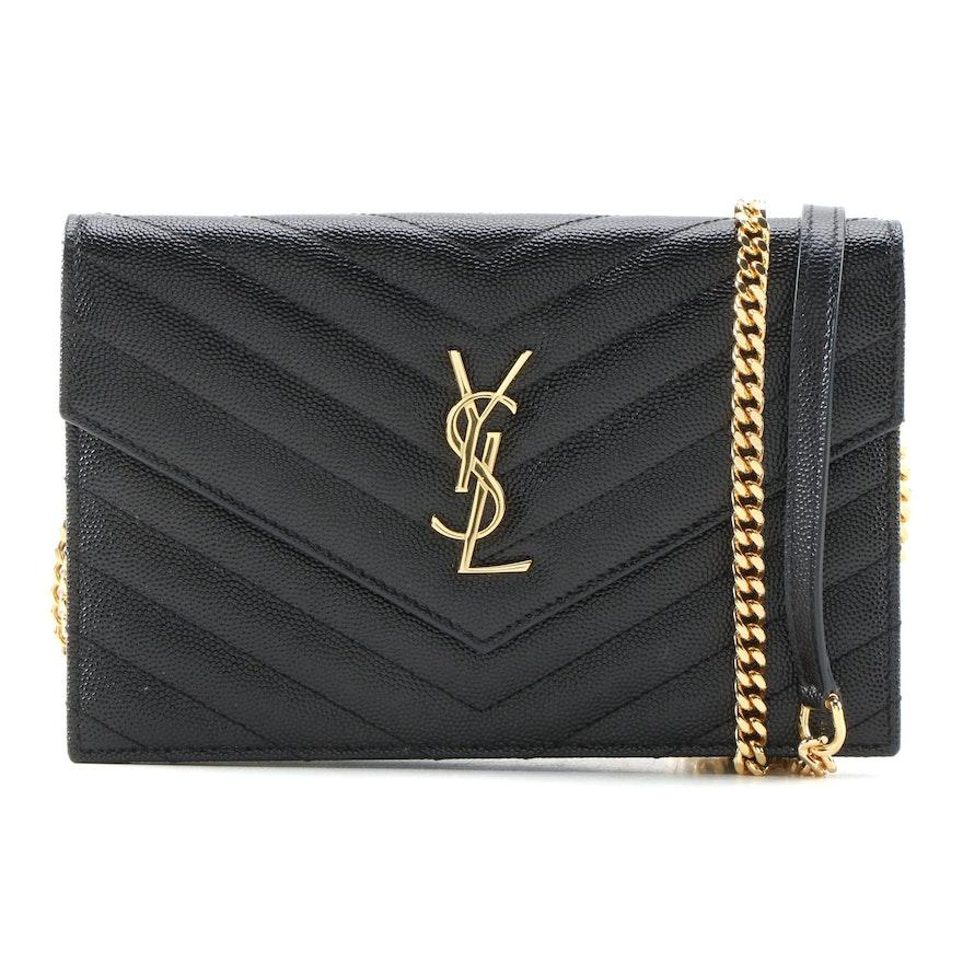 YSL Saint Laurent Paris Grain de Poudre Envelope Wallet on Chain